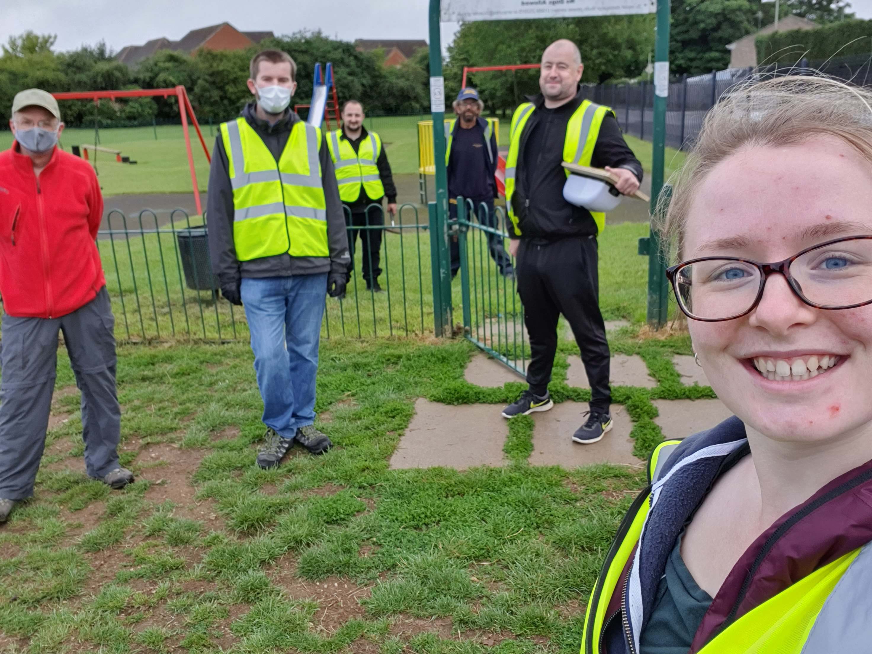 Cllr Zoe Mclernon with the council's outdoors team helping to get parks ready to re-open